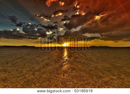 Dry Lake Sunset Hdr