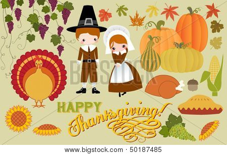 Thanksgiving Symbols and Icons, including pilgrims, turkey, corn, grapes, pumpkins and pumpkin pie, and Thanksgiving greeting