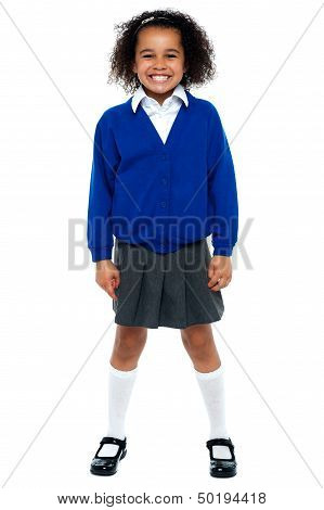 Full Length Portrait Of A Joyous African School Girl