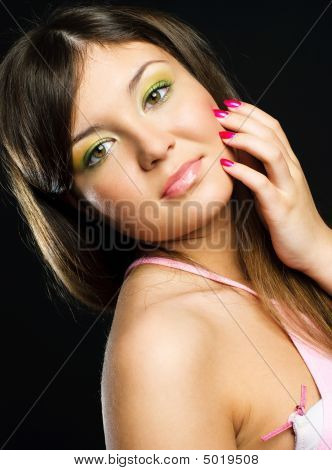 Brunette Model With Colorful Makeup