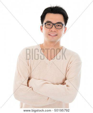 Front view headshot Asian man in casual wear standing isolated on white background. Asian male model.
