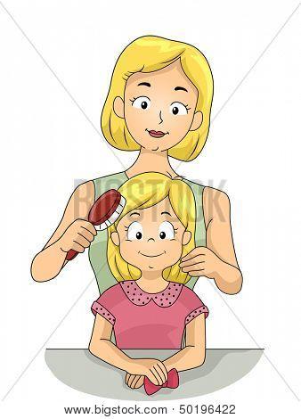 Beispiel für eine Caucasian Mutter ihre Tochter Haare Bürsten
