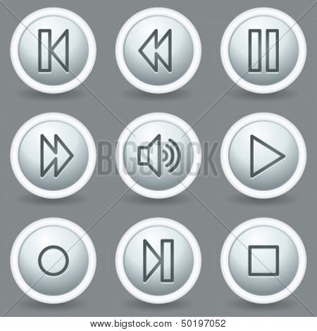 Walkman web icons, circle grey matt buttons