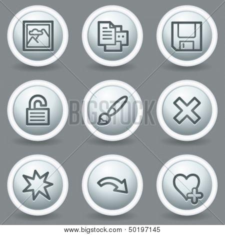 Image viewer web icons set 2, circle grey matt buttons
