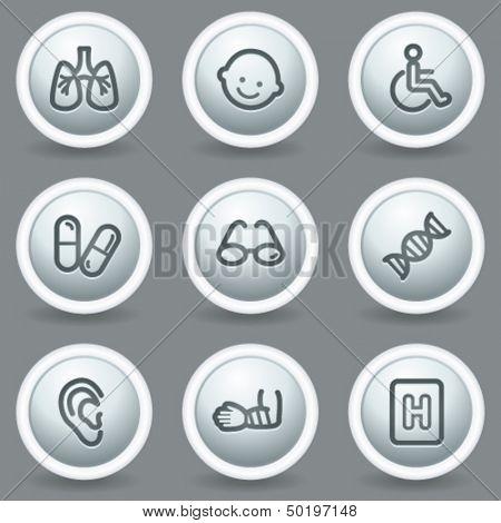 Medicine  web icons set 2, circle grey matt buttons