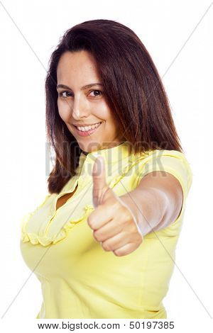 Young beautiful casual woman showing thumb up sign with satisfaction, isolated on white