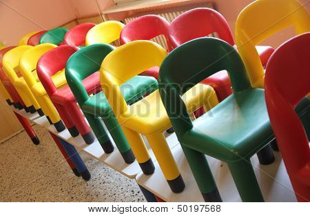 Chairs On The Tables Of The Refectory Of Asylum During The Cleaning 2