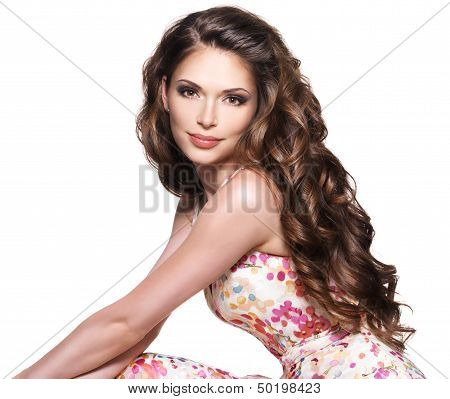 Beautiful Adult Woman With Long Brown Curly Hair. poster