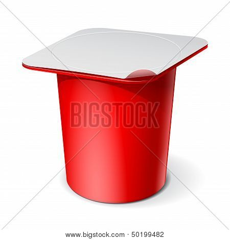 Red Realistic blank plastic container for yogurt