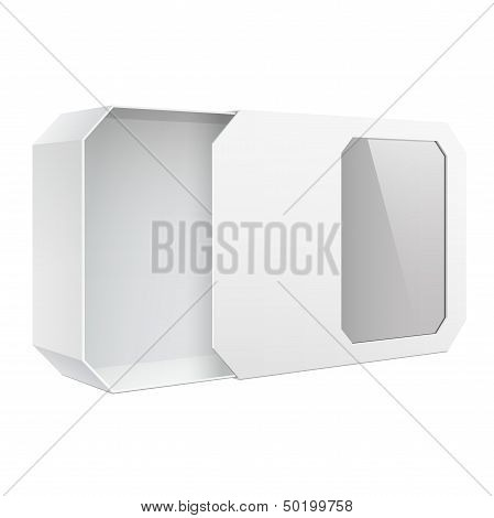 Light Realistic Package Box With Window. Vector