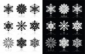 image of ice crystal  - Snowflakes icons with shadow on black and white background - JPG