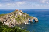 stock photo of basque country  - Gaztelugatxe is an islet on the coast of Biscay belonging to the municipality of Bermeo in Basque Country  - JPG