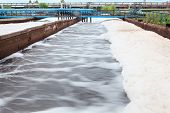 stock photo of wastewater  - Volume for oxygen aeration in wastewater treatment plant - JPG