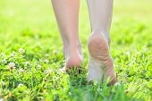 picture of barefoot  - Light step barefoot on the soft summer grass - JPG