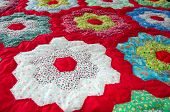 foto of quilt  - Vintage Handmade Quilt with grandmother