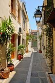 Narrow Street In City Of Rethymno, Crete, Greece