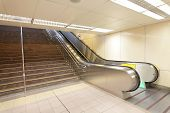 picture of escalator  - The escalator moving at a metro railway station shot in Taipei Taiwan asia - JPG