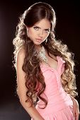 stock photo of bosom  - Fashion photo of young magnificent woman - JPG