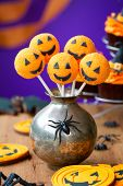 stock photo of cake-ball  - Halloween cake pops - JPG