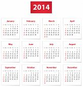 picture of weekdays  - Calendar for 2014 year on white papers in English - JPG