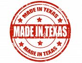 stock photo of texas star  - Grunge rubber stamp with text Made in Texas - JPG
