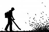 stock photo of blowers  - Illustrated silhouette of a man using a leaf - JPG