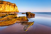 foto of beachfront  - Porto de Mos Beach in Lagos Algarve Portugal - JPG