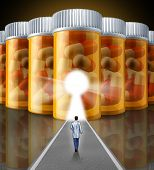 stock photo of placebo  - Medicine research medical concept with a scientist doctor walking towards a wall made with a group of pharmaceutical prescription pill bottles with a glowing key hole as a symbol of chemical science technology for human health - JPG