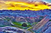 stock photo of shale  - HDR Sunset in The Badlands South Dakota USA - JPG