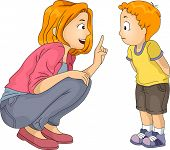 stock photo of family bonding  - Illustration of a Caucasian Mother Giving Her Son a Lecture - JPG