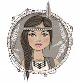 stock photo of dream-catcher  - Cute native american girl and feathers frame - JPG