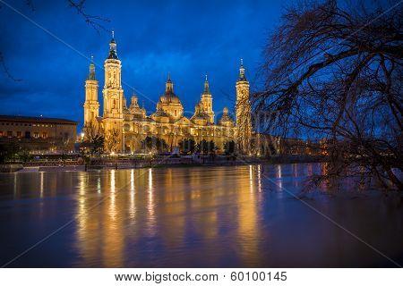 El Pilar Basilica And Ebro River (zaragoza, Spain)