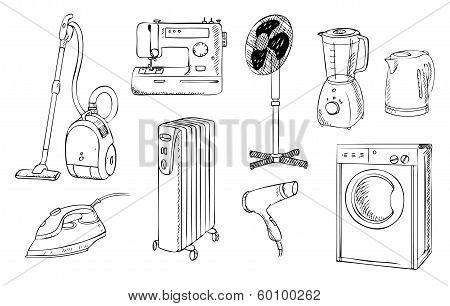 Everyday Household Appliances Vector Set