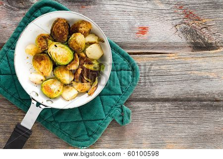 Sauteed Brussels Sprouts In A Saucepan