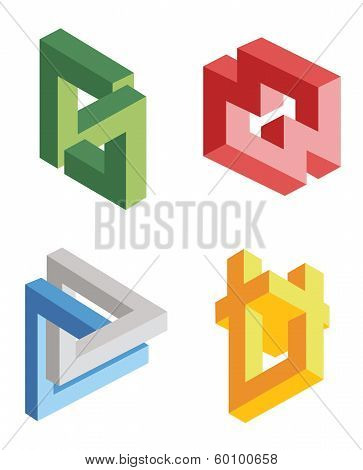 Unreal Bright Geometrical Objects Vector