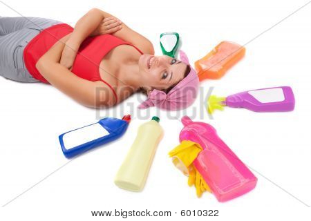 Woman And Plastic Bottles