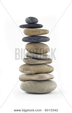 Green Life - Balanced Stone Tower With Plant