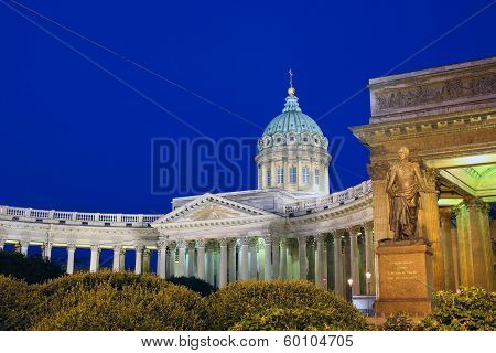 Kazan Cathedral In St. Petersburg At Night