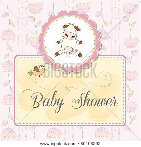 New Baby Announcement Card With Cow