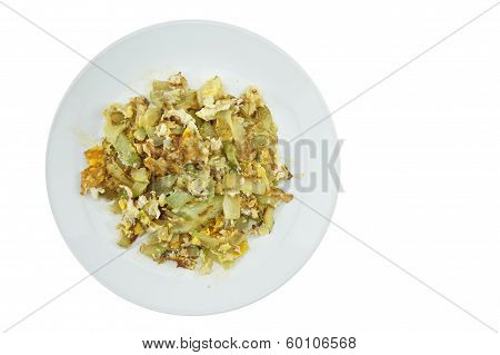 Chayote Sliced Fried With White Background