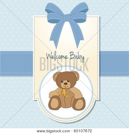 Baby Boy Welcome Card With Teddy Bea