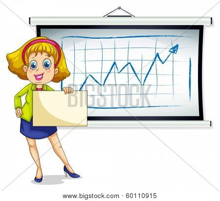 Illustration of a lady holding an empty paper in front of the bulletin board on a white background