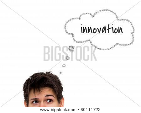 Thinking Casual Young Woman With Thought Bubble Isolated