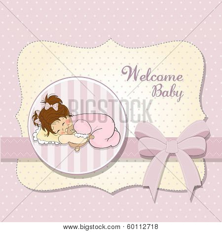 Baby Shower Card With Little Baby Girl Play With Her Teddy Bear Toy