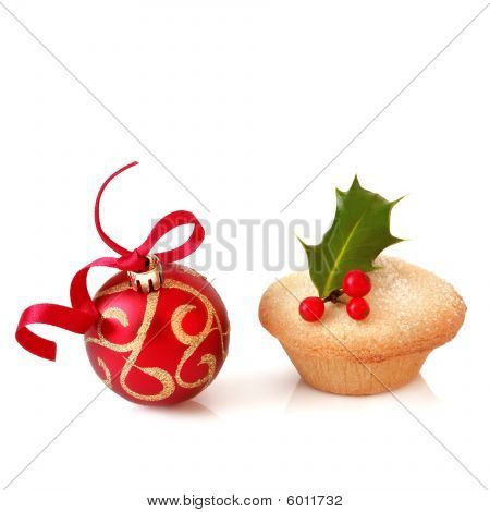 Christmas Bauble And Mince Pie