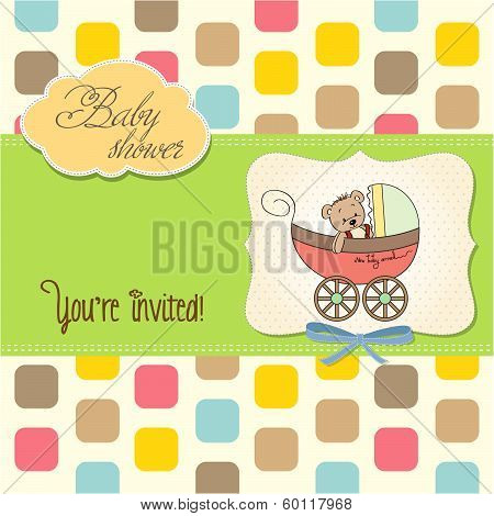 Funny Teddy Bear In Stroller, Baby Announcement Card