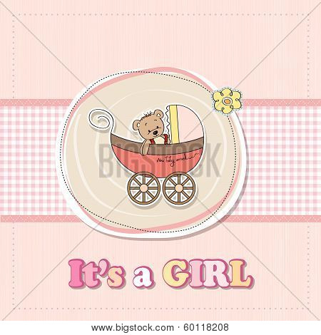 Baby Girl Shower Card With Funny Teddy Bear In Stroller