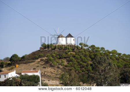 Old Wind Mills On The Mountain Of Spain
