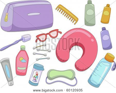 Illustration Featuring Different Items Commonly Used When Traveling