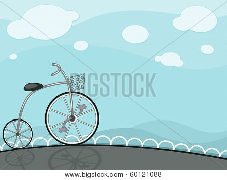 Illustration Featuring a High Wheeler Bike Framed Against a Blue Backdrop